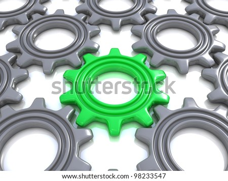 Gears isolated on white. Concept of unique