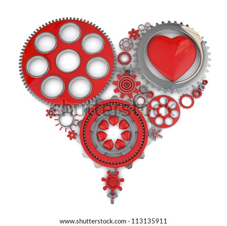 gears making the shape of a heart on a white background
