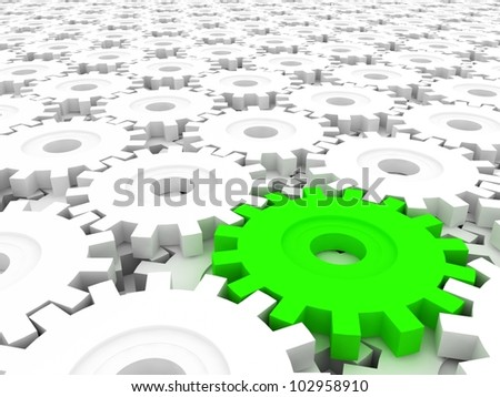 Gears on white. Unique, another - stock photo