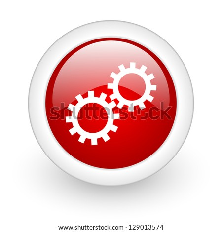 gears red circle glossy web icon on white background