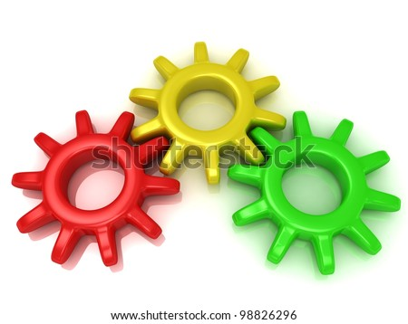 Gears red, yellow and green. Work concept
