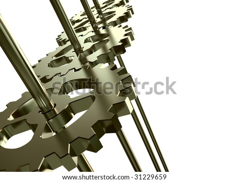 Gears wheels isolated on white - 3d render