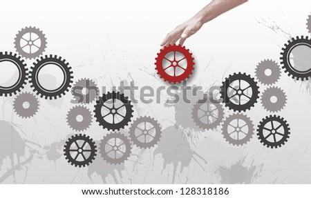 Gears  work like team when red gear come to complete