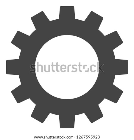 Gearwheel raster illustration on a white background. An isolated flat icon illustration of gearwheel with nobody.