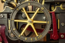 Gearwheels of a renovated vintage church clock