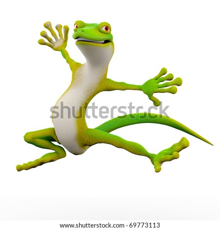 gecko cartoon freestyle breack dance jump