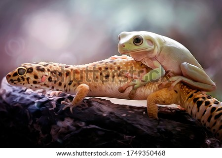 Gecko Lizard and A Dumpy Frog - Oil Painting Art Nature Illustration