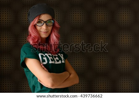 Geek girl ストックフォト ©