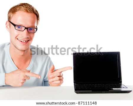 Geek man with a laptop computer - isolated over a white background