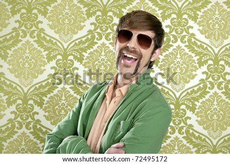 geek retro salesperson man funny mustache sunglasses in green wallpaper