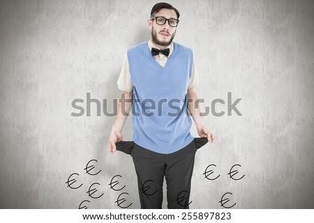Geeky hipster showing empty pockets against white background #255897823