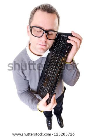 Geeky man keep computer keyboard