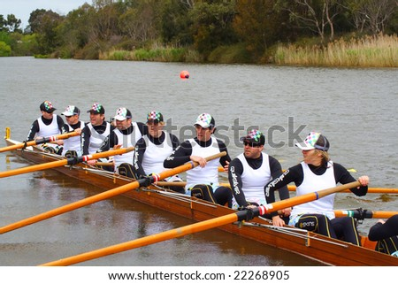 Geelong, October 13, Corporate head of the river held in Geelong on the barwon river. The Quiksilver team in their boat held on October 13 2007, Geelong, Australia