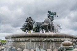 Gefion Fountain (Gefionspringvandet 1899) in Copenhagen. Gefion Fountain depicting legendary Norse goddess driving four oxen. Designed by Danish artist Anders Bundgaard. Denmark