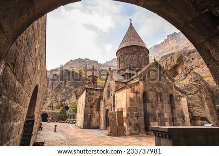 Geghardavank or Geghard monastery is an Orthodox Christian monastery located in Kotayk Province of Armenia ストックフォト ©