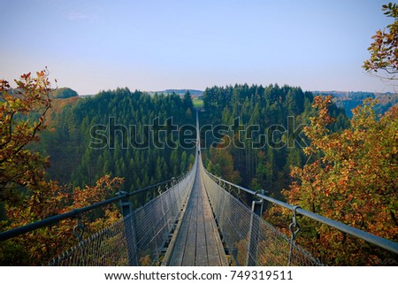 Geierlay, Germany -  view to a large suspension bridge of germany