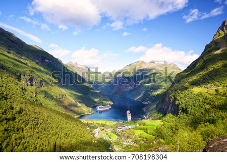 Geiranger fjord from Flydalsjuvet view point, Norway #708198304