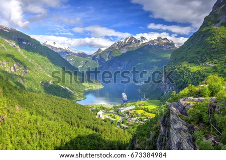 Geiranger Fjord seen from Flydalsjuvet Viewpoint, The West Norwegian Fjords, Norway #673384984