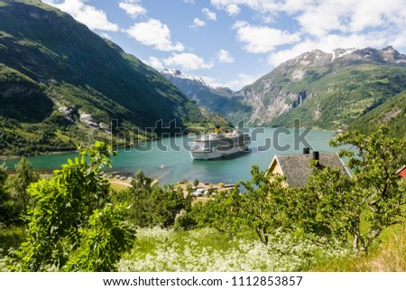Geirangerfjorden with cruiseship seen from route 63 Geiranger-Stryn, Norway