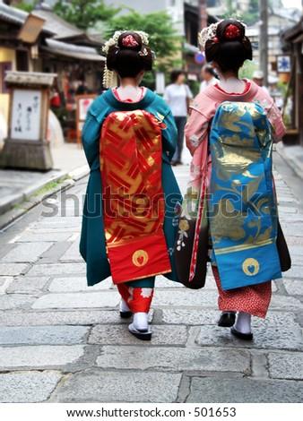 geisha girls shot from the back