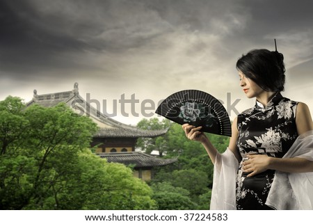 geisha in  beautiful natural landscape with pagoda