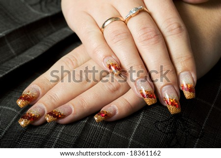 Gel nails with decoration.