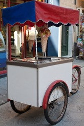 Gelati - ice cream cart built on a bicycle in Italy.