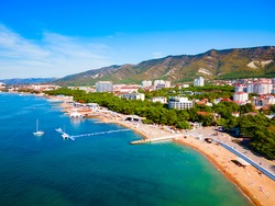 Gelendzhik city beach aerial panoramic view. Gelendzhik is a resort town located on the Gelenjik Bay of the Black Sea in Krasnodar Krai, Russia.