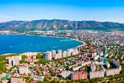 Gelendzhik city harbor aerial panoramic view. Gelendzhik is a resort town located on the Gelenjik Bay of the Black Sea in Krasnodar Krai, Russia.