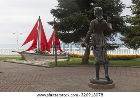 Gelendzhik, Krasnodar region, Russia - July 16, 2015: Sculptural composition Assol and Scarlet Sails on the seafront in resort Gelendzhik, Krasnodar Region, Russia