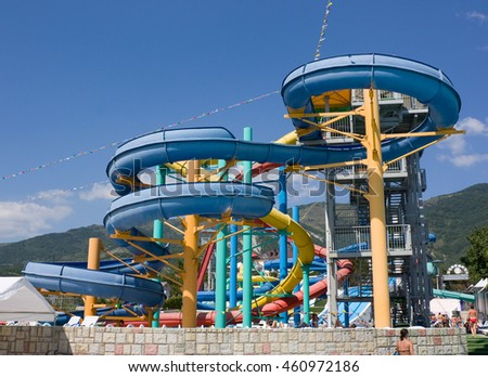 "GELENDZHIK, RUSSIA-JULY 7, 2012: Colorful water park tubes and a swimming pool in the aquapark"" Begemot"" #460972186"