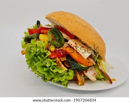 Gemüse Döner, fried vegetables kebap, sebze kızartması ile döner Stok fotoğraf ©