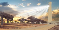 Gemasolar Concentrated solar power plant CSP, system generate solar power using mirrors lenses to concentrate large area of sunlight onto receiver, Seville, Andalusia. Spain. Renewable energy concept
