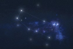 Gemini constellation stars in outer space. Zodiac Sign Gemini constellation lines. Elements of this image were furnished by NASA