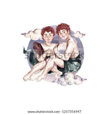 Gemini - Zodiac Symbol. Watercolor Illustration.