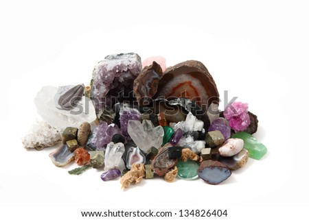 gems (minerals) collection isolated on the white background