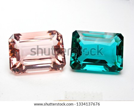 gems stone pink and green sapphire emerald cut on white background for gems setting #1334137676