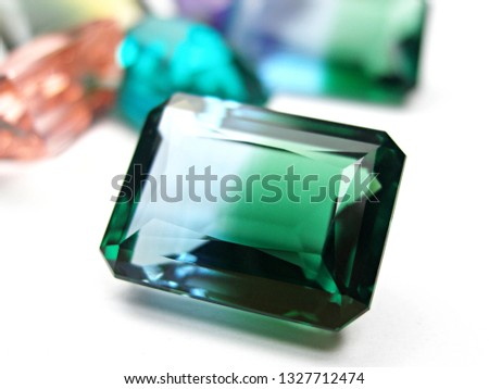 gems stone sapphire emerald cut on white background for gems setting #1327712474