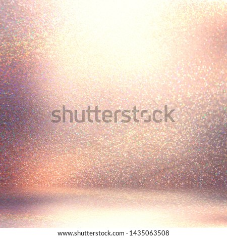Gemstone shimmer wall and floor texture. Attractive luxury room illustration. Glitter festive decoration. Rosy golden abstract graphic. Elite studio template.