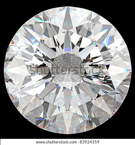 Gemstone: top view of round diamond isolated on black
