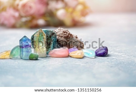 gemstones crystal minerals for relaxation and meditation. Rock crystal, fluorite, citrine. Crystal Ritual, Witchcraft, Crystal Layout, Prosperity, Meditation, Relaxing Chakra, Healing Crystals. #1351150256