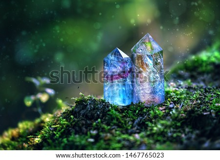 gemstones crystal minerals on beautiful mysterious nature background. gems for relaxation, clear quartz crystal close up. Magic Rock for Crystal Ritual, Witchcraft, Crystal for Relaxing