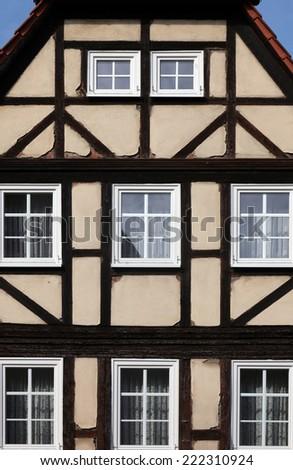 GEMUNDEN, GERMANY - 18 JULY: Half-timbered old house in Gemunden, Bavaria, Germany, on July 18, 2013