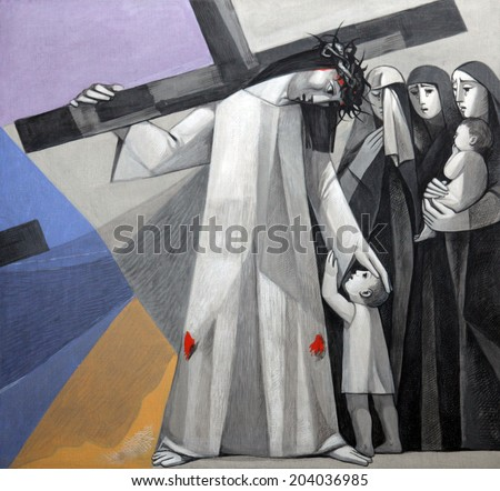 GEMUNDEN,GERMANY-JULY 18:8th Stations of the Cross,Jesus meets the daughters of Jerusalem,Church of the Holy Trinity on July 18,2013 in Bavarian village of Gemunden am Main in the Diocese of Wurzburg.