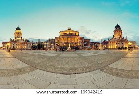 Gendarmenmarkt Berlin (Gendarmen Market) Panorama, famous landmark in Berlin, Germany at sunny day with blue sky