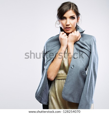 Gender equality clothing concept. Woman dressed male suit. Feminism concept