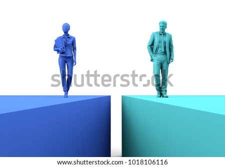 Gender equality concept. Businesswoman and businessman on two seperate colour blocks. 3D Rendering