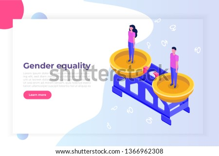 Gender equality, Equal pay and opportunity  isometric concept with man and woman on scale.  Illustration.