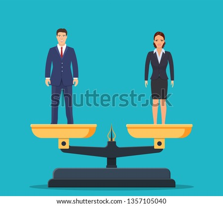 Gender equality with businessman and businesswoman on scales. Equal pay and opportunity business concept. male and female equal rights. illustration in flat style Raster version.