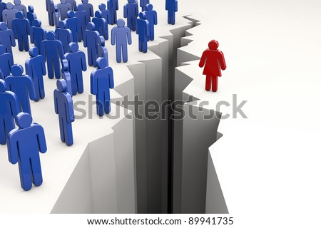 Gender Gap with men on one side of abyss and woman on the other